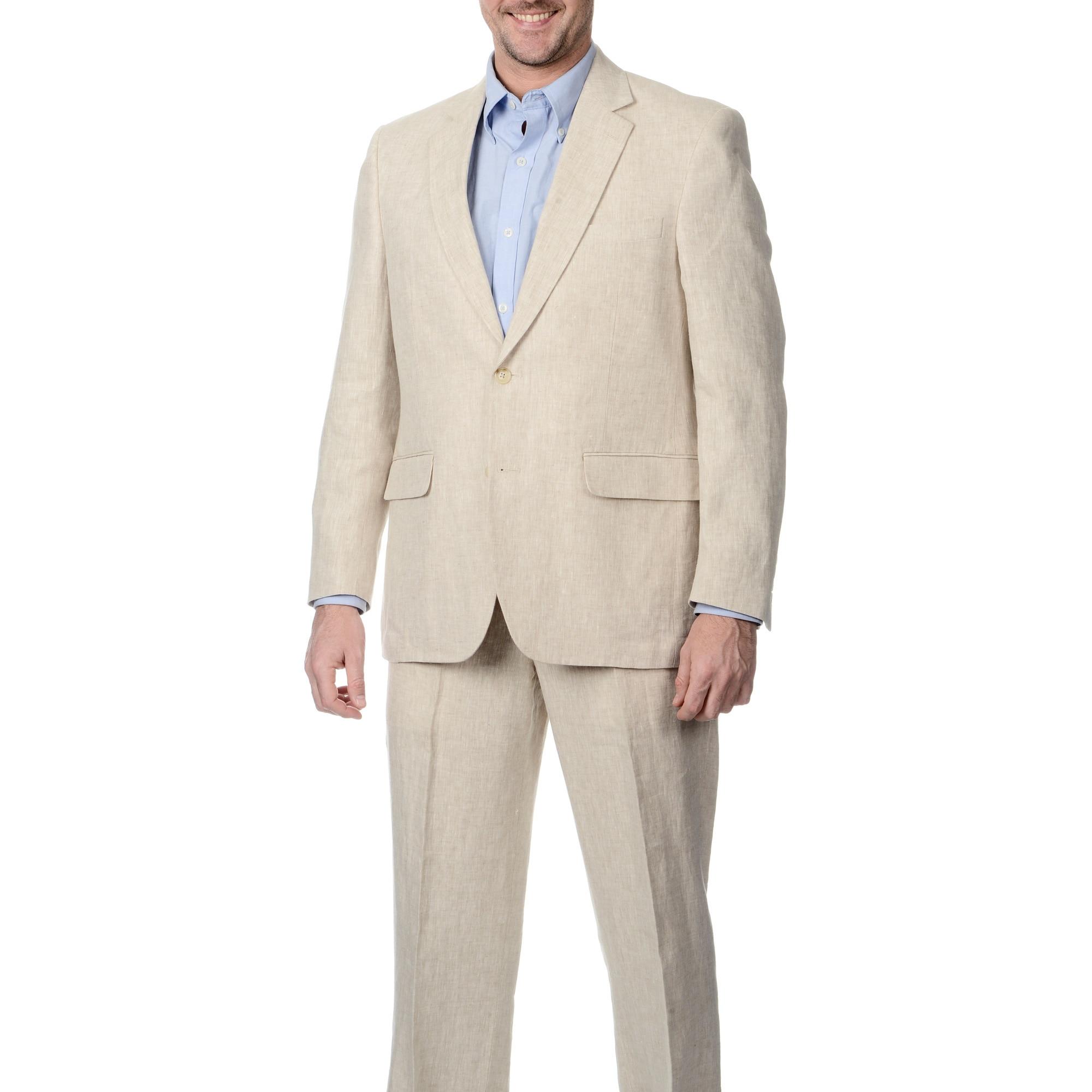 Palm Beach Men's 2-button Double Vent Natural Linen Suit ...