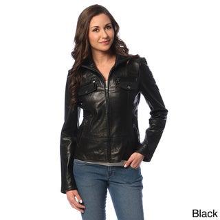 Tommy Hilfiger Women's Leather Zip-up Jacket