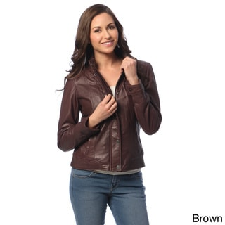 Tommy Hilfiger Women's Leather Front Placket Jacket