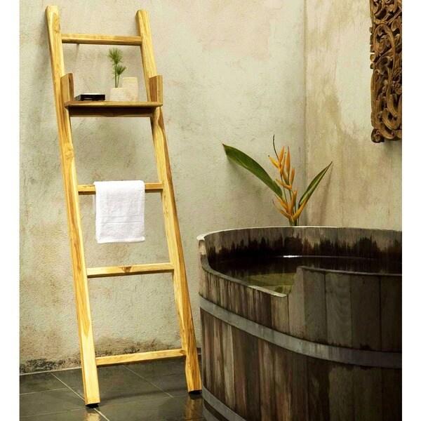 Handmade 18 x 64 farmed teak teak oil towel ladder with for Bathroom ladder shelf