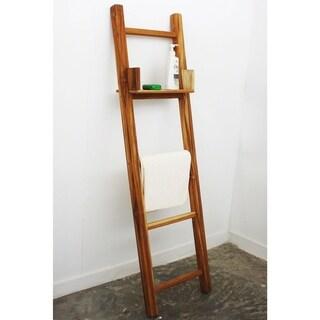 Handmade 18 x 64 Farmed Teak Teak Oil Towel Ladder with Adjustable Shelf (Thailand)