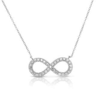 Eloquence 10k White Gold 1/2ct TDW Diamond Infinity Pendant Necklace (H-I, I1-I2)