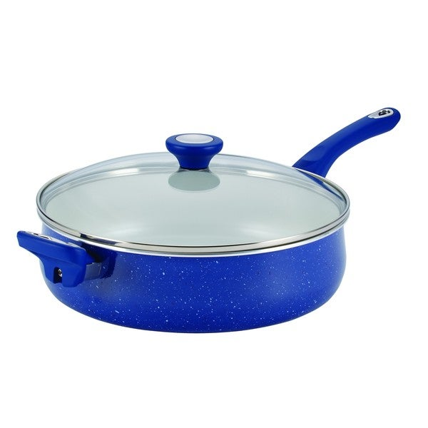 Farberware New Traditions Speckled Aluminum Nonstick 5-quart Blue Jumbo Cooker with Helper Handle