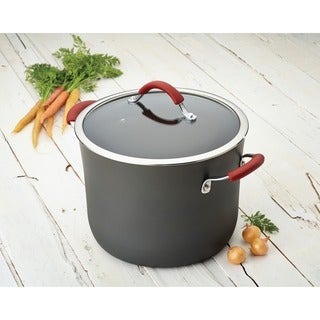 Rachael Ray Cucina Hard-anodized Nonstick 10-quart Grey with Cranberry Red Handles Covered Stockpot