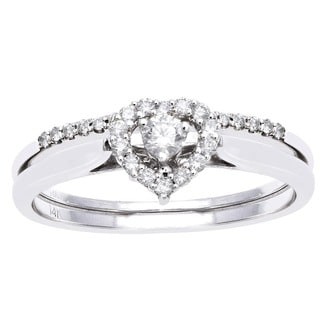Beverly Hills Charm 14k White Gold 1/4ct TDW Bridal Heart Ring Set