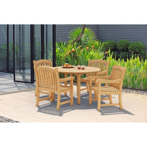 Havenside Home Tottenville 5-piece Round Light Brown Outdoor Dining Set