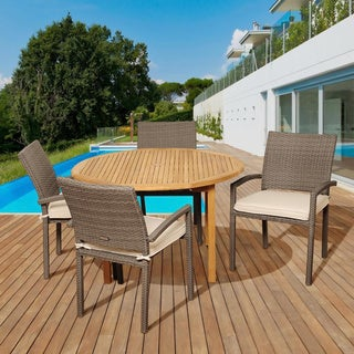 Amazonia Teak Amanda 5-piece Teak and Synthetic Wicker Outdoor Round Dining Set