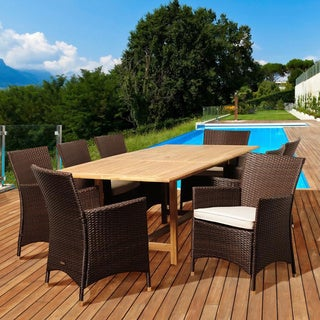 Amazonia Teak Celine 9-piece Teak and Wicker Outdoor Dining Set with Off-white Cushions