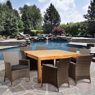 Amazonia Teak Louise 9-piece Teak and Wicker Outdoor Dining Set