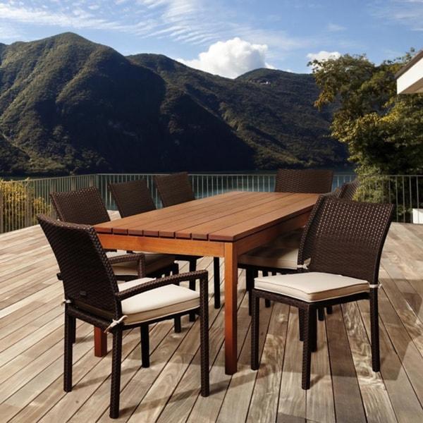 Amazonia Gloria 9 Piece Eucalyptus And Wicker Outdoor Dining Set