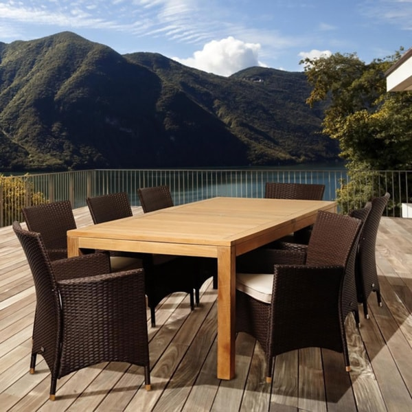 Amazonia Teak Zoe 9-piece Teak and Wicker Outdoor Dining Set
