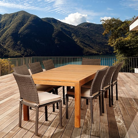 Amazonia Teak Sofia 9-piece Teak and Wicker Outdoor Dining Set