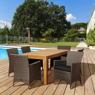 Amazonia Teak Rose 7-piece Teak and Wicker Outdoor Dining Set