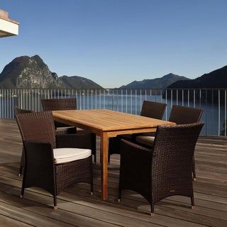 Amazonia Teak Tania 7-piece Teak and Wicker Outdoor Rectangular Dining Set