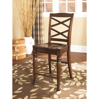 Signature Design by Ashley Porter Rustic Brown Barstool (Set of 2)