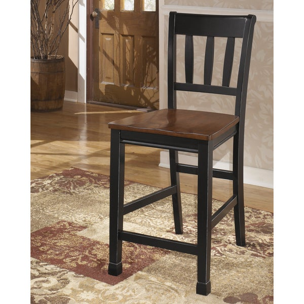 Signature Design By Ashley 24 Inch Owingsville Black Brown Barstool Set Of 2