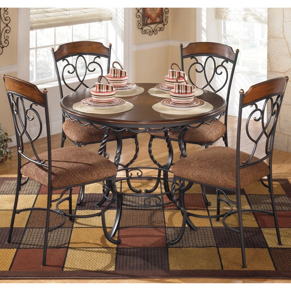 design by ashley 39 nola 39 dark brown 5 piece round dining room tabl