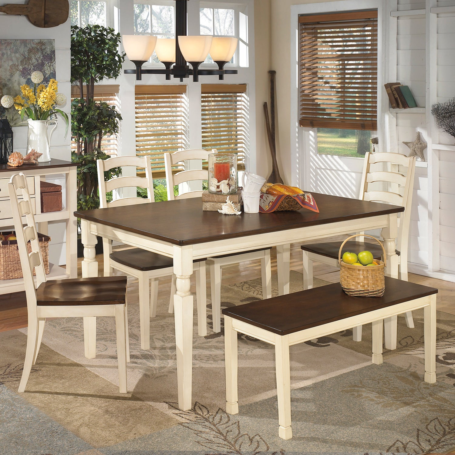 Signature Design by Ashley Whitesburg 1 Brown//Off-White Dining Room Bench -#