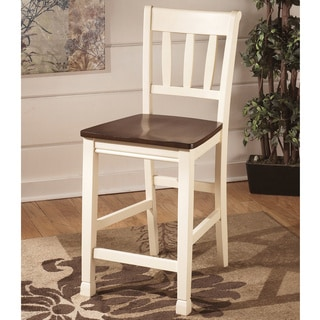 Signature Design by Ashley 24-inch Whitesburg' White and Burnished Brown Barstool (Set of 2)