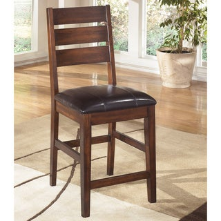 Signature Design by Ashley Larchmont Burnished Brown and Leatherette Upholstered Bar Stool (Set of 2)