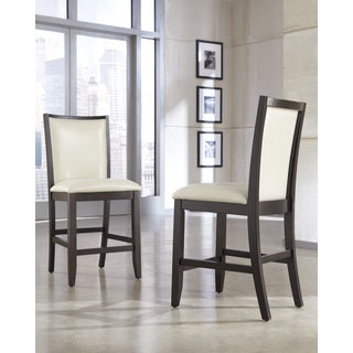Signature Design by Ashley 25-inch Trishelle' Ivory Upholstered Counter Stool (Set of 2)