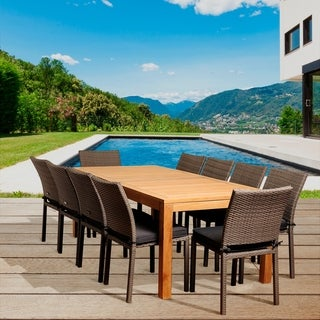 Havenside Home Popham 11-piece Teak/ Wicker Outdoor Dining Set