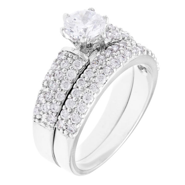 Simon Frank Designs  Bridal Set/ Wedding  CZ Ring - Silver