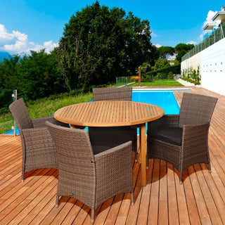 Amazonia Teak Margaret 5-piece Teak/ Wicker Outdoor Dining Set