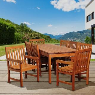 Giselle 9-piece Eucalyptus Wood Rectangular Outdoor Dining Set
