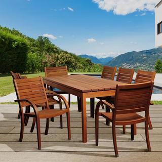 Amazonia Lourdes 9-piece Eucalyptus Wood Outdoor Dining Set