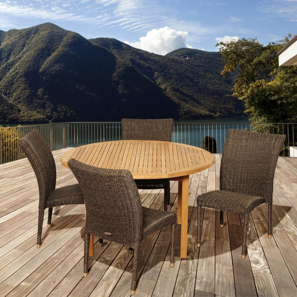 Amazonia Teak Laura 5-piece Teak/ Wicker Outdoor Dining S...