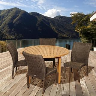 Amazonia Teak Laura 5-piece Teak/ Wicker Outdoor Dining Set