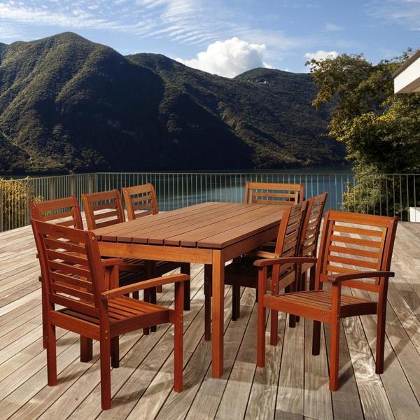 Amazonia Barbara 9-piece Wood Outdoor Dining Set