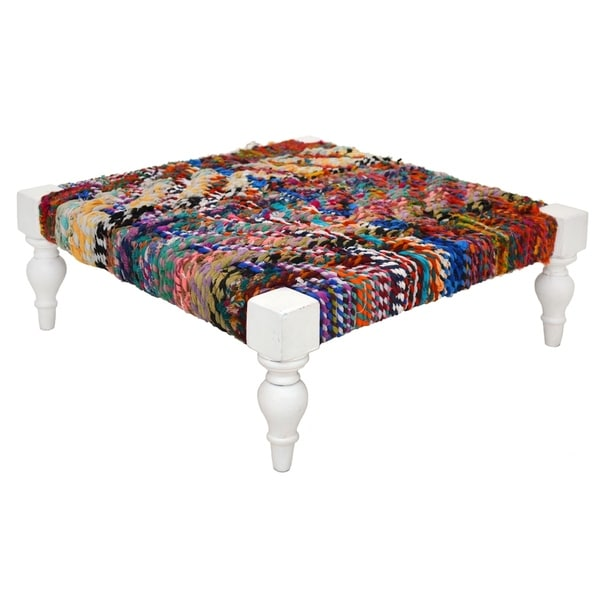 Multi-colored Braided Rope Footstool (India)