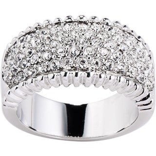 Simon Frank White Rhodium Overlay Beaded Edge Pave Cubic Zirconia Ring