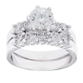 Simon Frank 2.29ct TDW Classic Bridal Ring Set - Silver