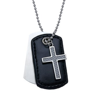 Stainless Steel Men's 3-piece Cross Silver Carbon Leather Dog Tag