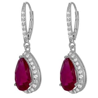 Gioelli Sterling Silver Created Gemstone White Sapphire Accented Leverback Earrings|https://ak1.ostkcdn.com/images/products/8915155/Sterling-Silver-Created-Gemstone-White-Sapphire-Accented-Leverback-Earrings-P16132654.jpg?impolicy=medium