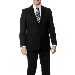 Palm Beach Men's Big & Tall Long Black Wool Single Vent Jacket