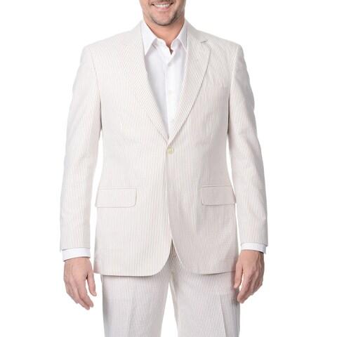 Palm Beach Men's Big & Tall Long Tan/ White Double Vent Jacket