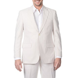 Palm Beach Men's Big & Tall Long Tan/ White Double Vent Jacket
