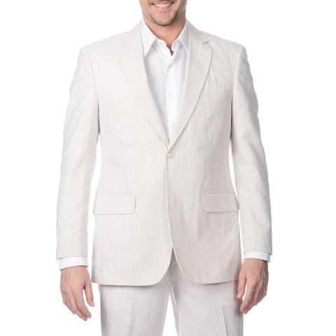 Palm Beach Men's Big & Tall 2 Button Tan /White Single Vent Jacket
