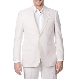 Palm Beach Men's Big & Tall 2 Button Tan /White Single Vent Jacket|https://ak1.ostkcdn.com/images/products/8915192/P16132690.jpg?impolicy=medium