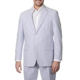 Palm Beach Men's Big & Tall Navy/ White Seersucker Double Vent Jacket