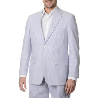 Palm Beach Men's Big & Tall Long 2 Button Navy/ White Seersucker Jacket