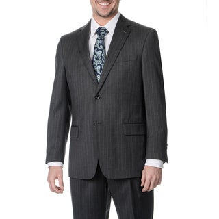 Palm Beach Men's Big and Tall 2-button Single Vent Grey Stripe Suit Jacket