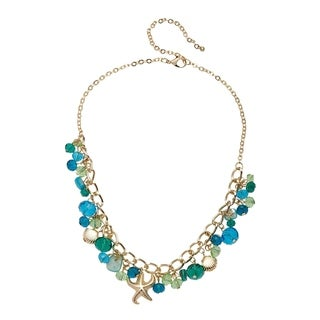 Alexa Starr Short Sea Life Faceted Glass and Shell Accents Drop Off Necklace