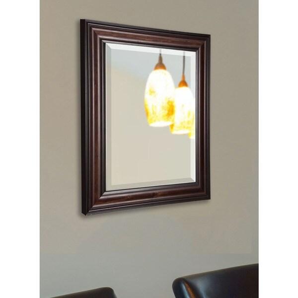 American Made Rayne Dark Walnut Beveled Wall/ Vanity Mirror