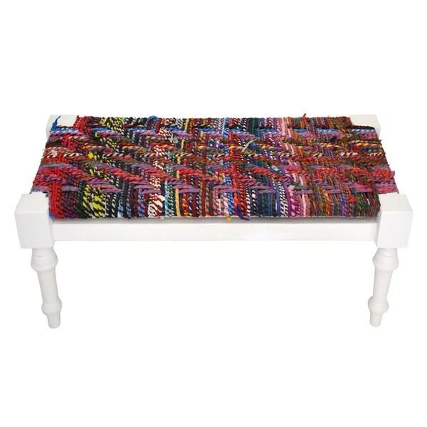 Handmade Multicolored Braided Rope Bench (India)
