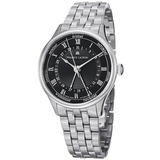Maurice Lacriox Men's MP6507-SS002-310 'MasterPiece' Black Dial Day Date Stainless Steel Watch